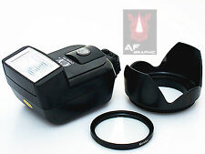 CK9 UV Filter + Lens Hood + Camera Flash for Samsung NX210 NX300 w/ 20-50mm Lens