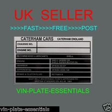 CATERHAM KIT CAR CHASSIS ENGINE REPLACEMENT OIL SERIES @ VIN-PLATE-ESSENTIALS Bk