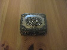 """Silver Tone Floral/Shell Cast Metal 2 3/4"""" Red Lining Small Jewelry Box #823"""
