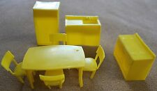 Vintage MPC Yellow Plastic Kitchen Doll House Set Table Chairs Stove Sink Fridge