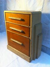 Vintage wood art deco 3 drawer jewlry box bathroom kitchen storage stash box