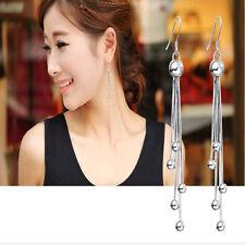 Womens 925 Sterling Silver Chain long Tassel Eardrop Dangle Earrings Jewelry