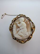 Very Large Rare 19th Century Gold & Carved Shell Cameo Pendant /Brooch