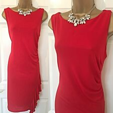ROMAN DRESS SIZE 16 Red Party RACES Occasion Evening Stretch Rutched,