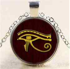 Gold Eye of Horus Cabochon Glass Tibet Silver Chain Pendant  Necklace