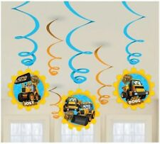 JCB 6 Hanging Swirls Boys Birthday Party Decorations Tractors Diggers Yellow