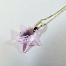 925 Sterling Silver Necklace Swarovski Element Crystal Star Pendant Pink w Box