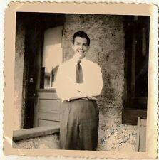 Old Antique Vintage Photograph Man All Dressed Up Standing On Porch