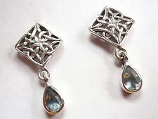 Blue Topaz Stud Square Celtic Earrings 925 Sterling Silver Corona Sun Jewelry