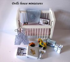 BABY COT AND ALL  ACCESSORIES  boy  DOLLHOUSE MINIATURES