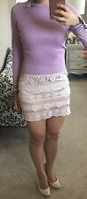 NWT Nude Blush Pink Rose Floral Tiered Crochet Lace Satin Mini Bodycon Skirt S