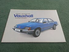 Nov 1978 VAUXHALL ALL MODEL CATALOGUE BROCHURE Chevette Cavalier Carlton Royale