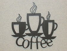 3 Coffee Cups Laser Cut wood Wall Decor Kitchen Art Sign coffee shop