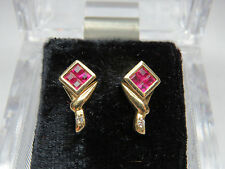 PRINCESS CUT RUBIES & ROUND DIAMOND EARRINGS 14KT YELLOW GOLD SQUARE GREAT GIFT