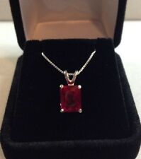 BEAUTIFUL 4ct Emerald Cut Ruby Solitaire Pendant Sterling Silver Necklace NWT