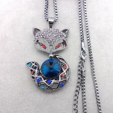 Fashion black fox necklace mosaic crystal pendant sweater chain FF111