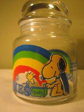 """Vintage 1965 Peanuts Gang Goodies  Jar Snoopy Woodstock & Rainbow 5.5x4"""""""