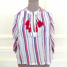 MANGO SUIT Smart Casual Stripy Tunic Blouse Top Boho Chic w Red Tassels Sz L/ XL