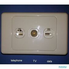 TRIPLE SOCKET WALL PLATE OUTLET TELEPHONE PHONE DATA INTERNET RJ11 RJ45 CAT6 TV