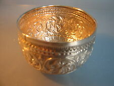 ~  Indian silver bowl with guilded interior ,beautiful geometric embossed design