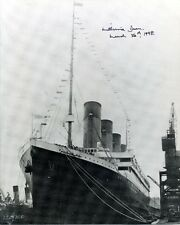 1912 TITANIC survivor MILLVINA DEAN autograph on large Titanic photo signed COA