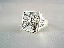 Ezi Zino Solid Sterling Silver 925 Ring Memory of Holocaust Day Auschwitz Poland