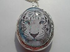 STERLING SILVER PLATED WHITE TIGER LOCKET*
