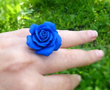 Flower Ring HANDCRAFTED rose Fashion polymer clay jewelry blue ring HANDMADE