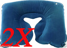 LOT OF 2 Navy Inflatable Travel Pillow Rest Neck U Shaped Air Flocked PVC Plane