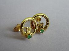 Vintage solid 9ct 9k yellow gold and emerald Irish Claddah friendship earrings