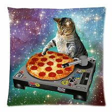Hipster DJ Galaxy Pizza Cat pillowcase Kitty in Space Decor Pillows Feline Love