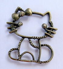 Bronze Hello Kitty Pendant Sanrio Connector Bead Jewelry Hairbow Gold Vintage NR