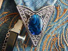 NEW HANDCRAFTED BLUE ABALONE COLLAR TIPS SILVER METAL,GOTH,WESTERN,COWBOY