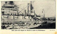 Deutsche Flotte beim Abgeben  der Munition in Wilhelmshaven 1918 *  WW1