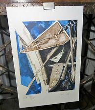 Estampe EA composition cubiste primitivisme 1920's Henri de Waroquier