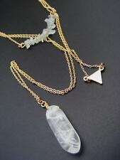 $18 Nordstrom Natural Crystal Pendant Triple Layer Necklace Goldtone Chain