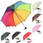 Foldable Anti-UV Lady Women Flouncing Princess Dome Parasol Sun/Rain Umbrella