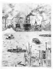 HAFEN von HAMBURG - 1949  - Valdo Louis BARBEY OriginalRadierung - monogrammiert