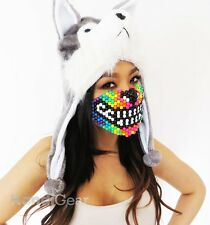 Rainbow Wolf Kandi Mask From KandiGear, Rave Costumes & Gear For Concert