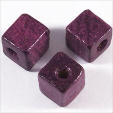 20 Perles Cubes en Bois 12mm Améthyste