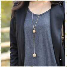 New Fashion Ladies Elegant Double Golden Hollow Ball Pendant Long Chain Necklace