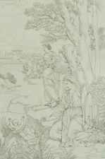 Moïse exposé sur les eaux d'après Eustache le Sueur Gravure 19ème siècle