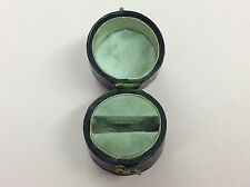 ANTIQUE LEATHER SILK & VELVET RING JEWELLERY JEWELRY BOX 1870