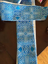 Blue Advent Clergy Stole Liturgical Vestment Brocade Celtic Cross Beautiful