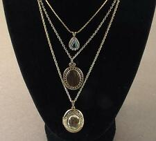 Estate Sale Necklace Lot Avon w Green Stone Sarah Coventry & Cameo Rose Locket