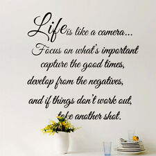 Life is Like a Camera Wall Decal Inspirational Quote Choose Vinyl Wall Art New