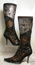 CASADEI BLACK SUEDE EMBROIDERED POINTY HIGH HEEL TALL FASHION BOOTS SZ 8.5 / 39