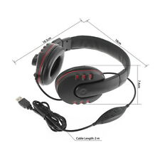 Leather USB Wired Stereo Micphone Headphone Mic Headset for Sony PS3 PC Game KK