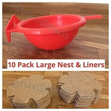 10 x LARGE PLASTIC CANARY NEST PAN & LINERS FOR NESTING CANARIES, FINCHES BUDGIE