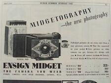 OLD ADVERT ENSIGN MIDGET CAMERA PHOTOGRAPHY c1935 VINTAGE PRINT